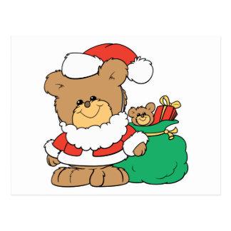 Cute Santa Bear and Toy Sack Postcards