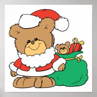 Cute Santa Bear and Toy Sack Posters