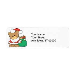 Cute Santa Bear and Toy Sack Return Address Label