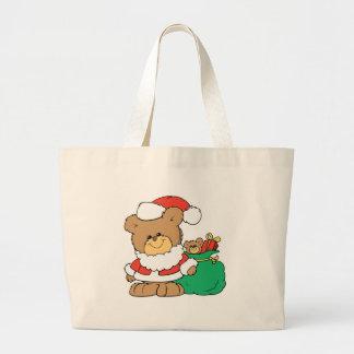 Cute Santa Bear and Toy Sack Tote Bags