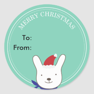 Cute Santa Bunny Green Christmas Gift Tag Round Stickers