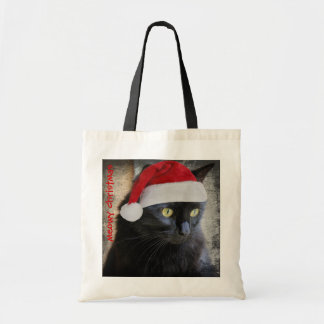 Cute Santa Cat Christmas Gift Bag