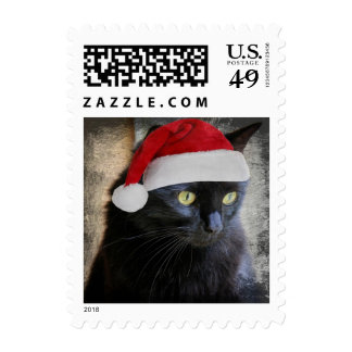 Cute Santa Cat Holiday Postage Stamps