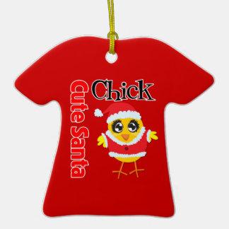 Cute Santa Chick Double-Sided T-Shirt Ceramic Christmas Ornament