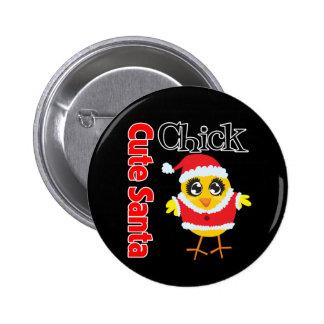 Cute Santa Chick Pinback Button