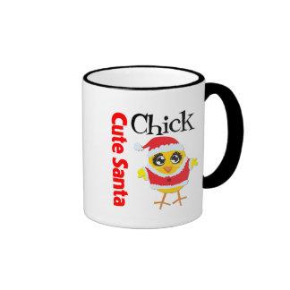 Cute Santa Chick Ringer Coffee Mug