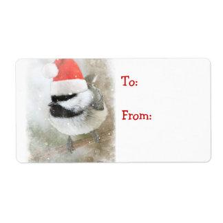 Cute Santa Chickadee Gift Tag Label