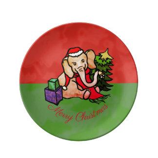 Cute Santa Christmas Cartoon Elephant with Scarf Porcelain Plate