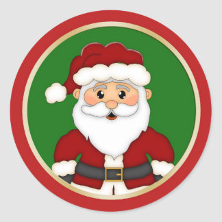 Cute Santa Christmas Classic Round Sticker