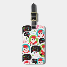 Cute Santa Christmas Pattern Travel Tag at Zazzle