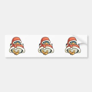 cute santa christmas penguin car bumper sticker