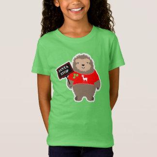 Cute Santa Christmas Stop Whimsy Cartoon Sloth T-Shirt