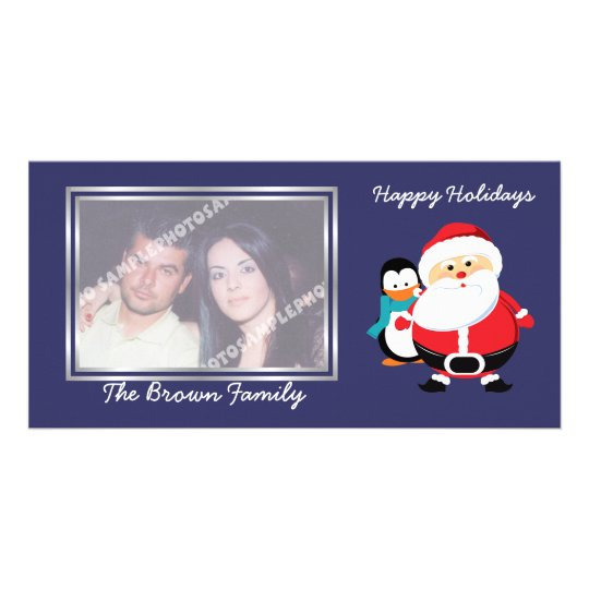 Cute Santa Claus And Penguin In Winter photo card