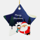 Cute Santa Claus and penguins Christmas ornament