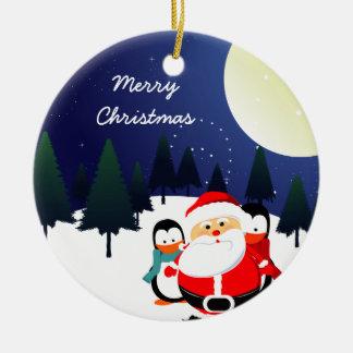 Cute Santa Claus and penguins Christmas ornament