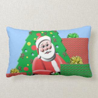 Cute Santa Claus Blue Christmas Throw Pillow