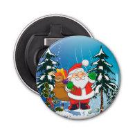Cute santa claus button bottle opener