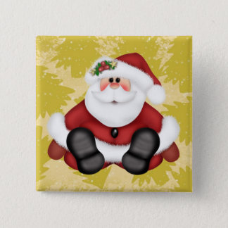 Cute Santa Claus Button with Christmas Trees