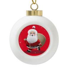 Cute Santa Claus Cartoon Ceramic Ball Christmas Ornament