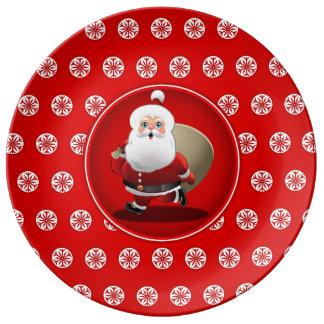 Cute Santa Claus Cartoon Plate