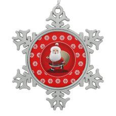 Cute Santa Claus Cartoon Snowflake Pewter Christmas Ornament