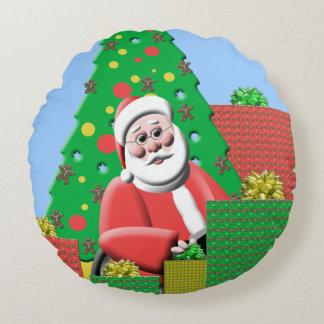 Cute Santa Claus Christmas Tree Holiday Festive Round Pillow