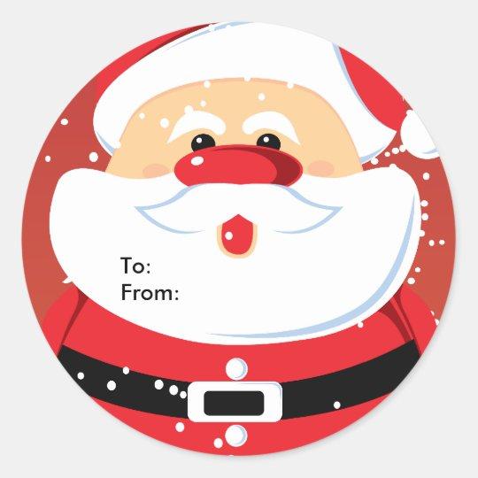 Cute Santa Claus custom sticker gift tag