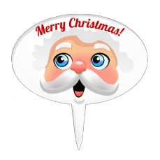Cute Santa Claus Face Cartoon Cake Topper