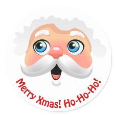 Cute Santa Claus Face Cartoon Classic Round Sticker