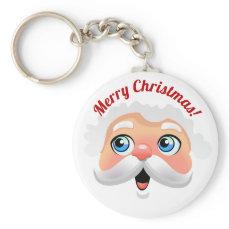 Cute Santa Claus Face Cartoon Keychain