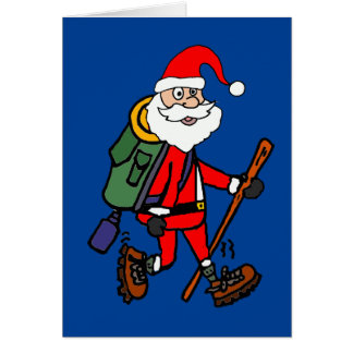 Cute Santa Claus Hiking Christmas Cartoon Card