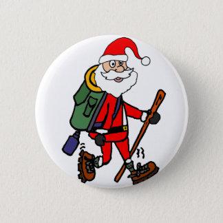 Cute Santa Claus Hiking Christmas Cartoon Pinback Button