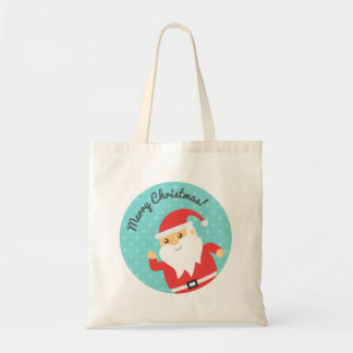 Cute Santa Claus Jolly and Merry Christmas Tote Bags