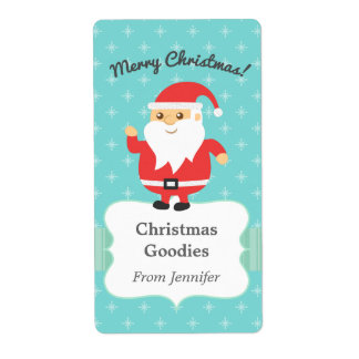 Cute Santa Claus Jolly and Merry Christmas Label