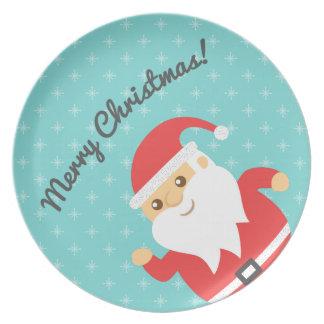 Cute Santa Claus Jolly and Merry Christmas Dinner Plate