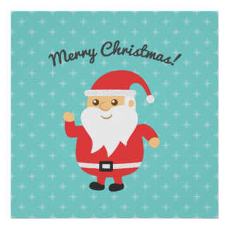 Cute Santa Claus Jolly and Merry Christmas Poster