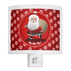 Cute Santa Claus on Red Background with Snowflakes Night Light