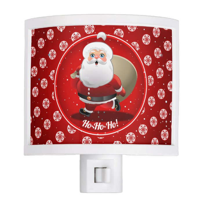 cute santa claus on red background with snowflakes night light zazzle com zazzle