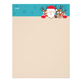 Cute Santa Claus peeking with reindeers Christmas Letterhead