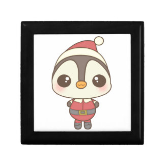 cute santa claus penguin character jewelry boxes