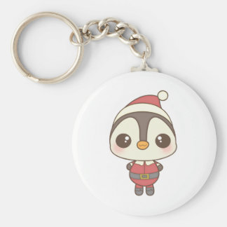 cute santa claus penguin character basic round button keychain