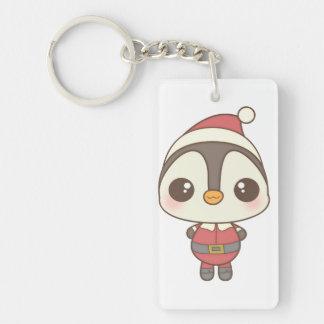 cute santa claus penguin character Single-Sided rectangular acrylic keychain