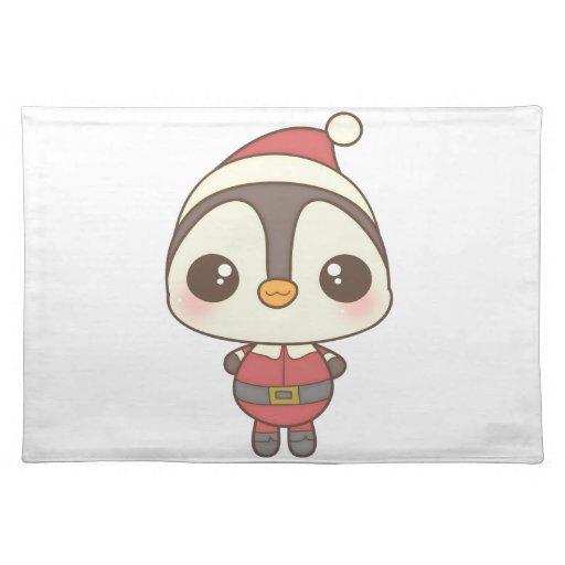 cute santa claus penguin character placemat