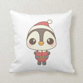cute santa claus penguin character throw pillows