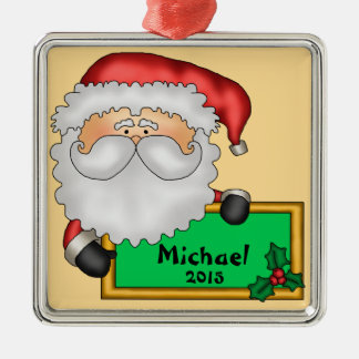 Cute Santa Claus Personalized Square Metal Christmas Ornament