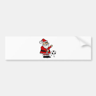 Cute Santa Claus Playing Soccer Christmas Cartoon Bumper Sticker