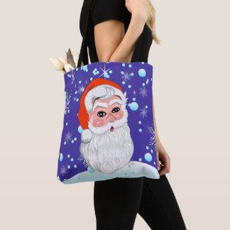 "Cute ""Santa Claus & Snowfall"" Merry Christmas Tote Bag"