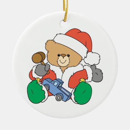 Cute Santa Claus Teddy Bear Double-Sided Ceramic Round Christmas Ornament
