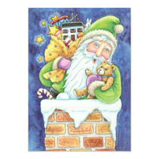Cute Santa Claus Toys Chimney Snow Christmas Party Card