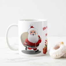 Cute Santa Claus With a Sack Full of Gifts Coffee Mug